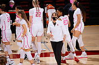 STANFORD, CA - FEBRUARY 05: Tara VanDerveer head coach of the Stanford Cardinal talks to an official during a game between University of Colorado and Stanford University at Maples Pavilion on February 05, 2021 in Stanford, California.