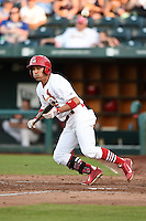 Springfield Cardinals outfielder Rafael Ortega (5) lays down a bunt during a game against the Frisco Rough Riders on June 1, 2014 at Hammons Field in Springfield, Missouri.  Springfield defeated Frisco 3-2.  (Mike Janes/Four Seam Images)
