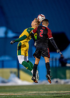 13 November 2019: University of Vermont Catamount Forward Rasmus Tobinski, a Freshman from Kiel, Germany, jumps high to head the ball during play against the University of Hartford Hawks at Virtue Field in Burlington, Vermont. The Catamounts fell to the visiting Hawks 3-2 in sudden death overtime of the Division 1 Men's Soccer America East matchup. Mandatory Credit: Ed Wolfstein Photo *** RAW (NEF) Image File Available ***