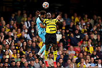 25th September 2021; Vicarge Road, Watford, Herts,  England;  Premier League football, Watford versus Newcastle; Moussa Sissoko of Watford competes for the ball with Joelinton of Newcastle United