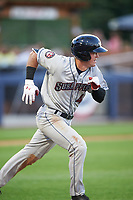 Mahoning Valley Scrappers center fielder Austen Wade (40) runs to first base during a game against the Williamsport Crosscutters on July 8, 2017 at BB&T Ballpark at Historic Bowman Field in Williamsport, Pennsylvania.  Williamsport defeated Mahoning Valley 6-1.  (Mike Janes/Four Seam Images)