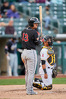 Rafael Ortega (13) of the El Paso Chihuahuas at bat against the Salt Lake Bees in Pacific Coast League action at Smith's Ballpark on May 1, 2017 in Salt Lake City, Utah. Salt Lake defeated El Paso 9-4. (Stephen Smith/Four Seam Images)
