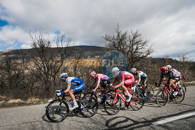 The breakaway featuring Thomas De Gendt (BEL) Lotto-Soudal, Polka Dot Jersey Nicolas Edet (FRA) Cofidis, Julian Alaphilippe (FRA) Deceunick-Quick Step, Alberto Bettiol (ITA) EF Pro Cycling, Aurélien Paret-Peintre AG2R La Mondiale and Anthony Perez (FRA) Cofidis during Stage 7 of the 78th edition of Paris-Nice 2020, running 166.5km from Nice to Valdeblore La Colmiane, France. 14th March 2020.<br /> Picture: ASO/Fabien Boukla | Cyclefile<br /> All photos usage must carry mandatory copyright credit (© Cyclefile | ASO/Fabien Boukla)
