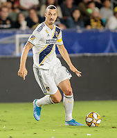 CARSON, CA - SEPTEMBER 21: Zlatan Ibrahimovic #9 of the Los Angeles Galaxy moves with the ball during a game between Montreal Impact and Los Angeles Galaxy at Dignity Health Sports Park on September 21, 2019 in Carson, California.
