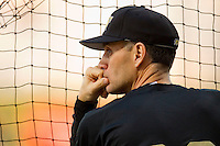 Wake Forest Demon Deacons head coach Tom Walter #32 watched batting practice prior to the game against the LSU Tigers at Alex Box Stadium on February 18, 2011 in Baton Rouge, Louisiana.  The Tigers defeated the Demon Deacons 15-4.  Photo by Brian Westerholt / Four Seam Images