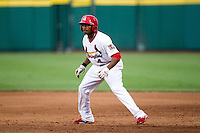 Daryl Jones (4) of the Springfield Cardinals takes a lead off of first base during a game against the Northwest Arkansas Naturals at Hammons Field on July 31, 2011 in Springfield, Missouri. Northwest Arkansas defeated Springfield 9-1. (David Welker / Four Seam Images)