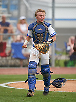 Canterbury Cougars catcher John Jobin (22) during the IMG National Classic on March 29, 2021 at IMG Academy in Bradenton, Florida.  (Mike Janes/Four Seam Images)