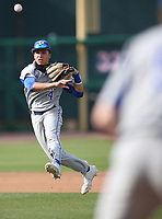 Rogers High School shortstop Noah Goodshield makes a throw to first base during action Monday, April 26, 2021, against Har-Ber High School at Arvest Ballpark in Springdale. Check out nwaonline.com/210427Daily/ and nwadg.com/photos for a photo gallery.<br /> (NWA Democrat-Gazette/David Gottschalk)