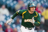 Baylor Bears outfielder Nathan Orf #4 runs to first base against the Houston Cougars in the NCAA baseball game on March 2, 2013 at Minute Maid Park in Houston, Texas. Houston defeated Baylor 15-4. (Andrew Woolley/Four Seam Images).
