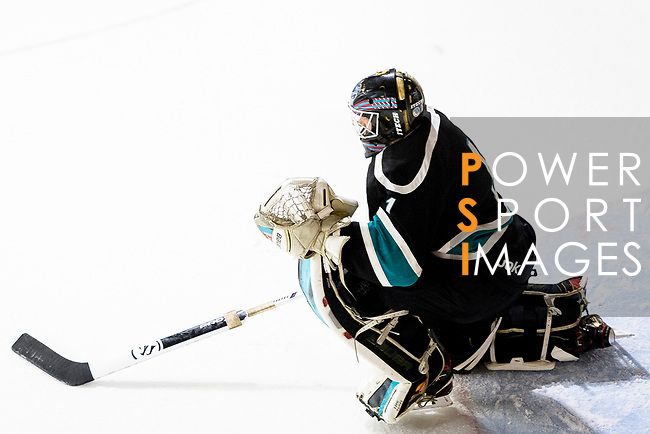 Cathay Flyers Goalie Jasen Await in action during the Mega Ice Hockey 5s match between Cathay Flyers and HK Tigers on May 04, 2018 in Hong Kong, Hong Kong. Photo by Marcio Rodrigo Machado / Power Sport Images