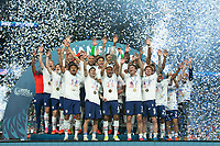 DENVER, CO - JUNE 6: The USMNT celebrates winning the CONCACAF Nations Cup during a game between Mexico and USMNT at Mile High on June 6, 2021 in Denver, Colorado.