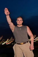 Moscow, Russia, 26/05/2006..22 year old Maxim, known as Tesak, skinhead member of Russian fascist group Format 18.