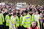 """© Joel Goodman - 07973 332324 - all rights reserved . 03/04/2010 . Dudley , UK . A person at the demonstration with a placard that reads """" Say no to mosque """" . The English Defence League ( EDL ) hold a demonstration in Dudley , opposed by Unite Against Fascism ( UAF ) . Photo credit : Joel Goodman"""