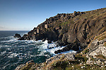 Great Britain, England, Cornwall, Botallack, near St Just: Ruins of tin mines on rugged West Cornwall  coastline