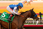 DEL MAR, CA  AUGUST 31: #5 Bast, ridden by Drayden Van Dyke, easily wins the Del Mar Debutante (Grade l) on August 31, 2019 at Del Mar Thoroughbred Club in Del Mar, CA. ( Photo by Casey Phillips/Eclipse Sportswire/CSM)