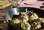 Austria, East-Tyrol, Lienz: Tyrolean Spinach Dumplings serverd at popular Mountain Inn Lienz Dolomites hut (1.616 m) at Lienz Dolomites | Oesterreich, Ost-Tirol, Lienz: Tiroler Spinatknoedel serviert in der Lienzer Dolomitenhuette (1.616 m), beliebte Jausenstation in den Lienzer Dolomiten