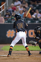 Irving Ortega (13) of the Aberdeen IronBirds at bat against the Hudson Valley Renegades at Leidos Field at Ripken Stadium on July 27, 2017 in Aberdeen, Maryland.  The IronBirds defeated the Renegades 3-0 in game two of a double-header.  (Brian Westerholt/Four Seam Images)