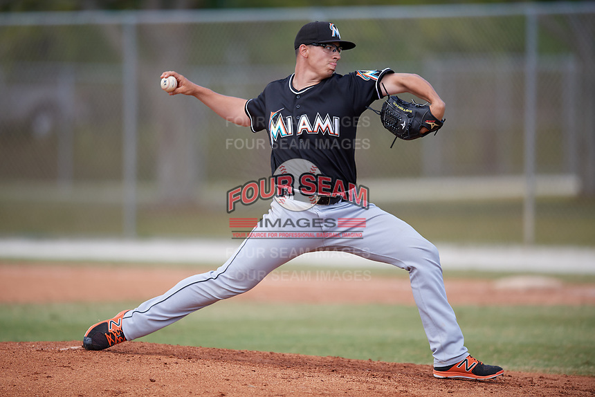 Miami Marlins pitcher Alex Mateo (53) delivers a pitch during a minor league Spring Training game against the New York Mets on March 26, 2017 at the Roger Dean Stadium Complex in Jupiter, Florida.  (Mike Janes/Four Seam Images)