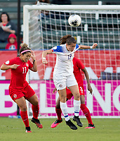 CARSON, CA - FEBRUARY 07: Maria Paula Salas #17 of Costa Rica heads a ball during a game between Canada and Costa Rica at Dignity Health Sports Complex on February 07, 2020 in Carson, California.