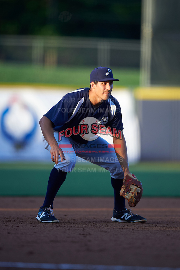 Pensacola Blue Wahoos third baseman Seth Mejias-Brean (5) during a game against the Mississippi Braves on May 27, 2015 at Trustmark Park in Pearl, Mississippi.  Pensacola defeated Mississippi 7-5 in fourteen innings.  (Mike Janes/Four Seam Images)