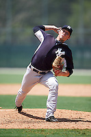 GCL Yankees East relief pitcher Tim Holmes (76) during a game against the GCL Pirates on August 15, 2016 at the Pirate City in Bradenton, Florida.  GCL Pirates defeated GCL Yankees East 5-2.  (Mike Janes/Four Seam Images)
