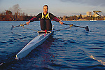 Rowing, single sculler Conal Groom at the catch, Lake Washington, Seattle, Washington State, Pacific Northwest, released.