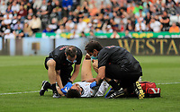 11th September 2021; Swansea.com Stadium, Swansea, Wales; EFL Championship football, Swansea versus Hull City; Rhys Williams of Swansea City receives treatment after an awkward landing