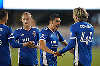 SAN JOSE, CA - MAY 1: Cade Cowell #44 of the San Jose Earthquakes celebrates scoring with Cristian Espinoza #10 during a game between D.C. United and San Jose Earthquakes at PayPal Park on May 1, 2021 in San Jose, California.