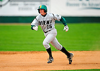 30 April 2009: Siena College Saints' second baseman Teddy Trymbiski, a Freshman from Doylestown, PA, hustles to third base during a game against the University of Vermont Catamounts at Historic Centennial Field in Burlington, Vermont. The Saints outscored the Catamounts 11-10 in the afternoon matchup. The Catamounts are playing their last season of baseball, as the program has been marked for elimination due to budgetary constraints at the University. Mandatory Photo Credit: Ed Wolfstein Photo