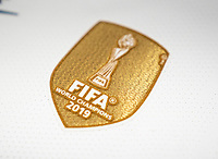 HARRISON, NJ - MARCH 08: FIFA Badge during a game between Spain and USWNT at Red Bull Arena on March 08, 2020 in Harrison, New Jersey.