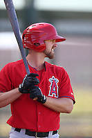 Andy Workman #57 of the Los Angeles Angels bats during a Minor League Spring Training Game against the Oakland Athletics at the Los Angeles Angels Spring Training Complex on March 17, 2014 in Tempe, Arizona. (Larry Goren/Four Seam Images)