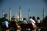 Tourists and the Blue Mosque, Istanbul, Turkey