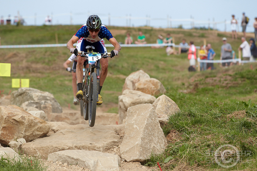 Jeremiah Bishop , USA . London Prepares Mountain Bike Olympic Test Event , Hadleigh Farm , Essex , July 2011 pic copyright Steve Behr / Stockfile
