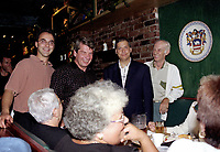 Montreal. CANADA -   August 28,1998  File Photo -  Jean Dore and Martin Lemay meet people at his annual supper.<br /> <br /> File Photo : Agence Quebec Pressse