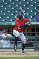 Kevin Kramer (17) of the Indianapolis Indians at bat against the Charlotte Knights at BB&T BallPark on August 22, 2018 in Charlotte, North Carolina.  The Indians defeated the Knights 6-4 in 11 innings.  (Brian Westerholt/Four Seam Images)