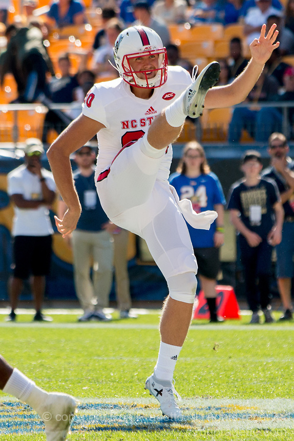 North Carolina State punter AJ Cole III. The North Carolina Wolfpack defeated the Pitt Panthers 35-17 at Heinz Field, Pittsburgh, PA on October 14, 2017.