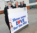 ::  NHS FORTH VALLEY ROYAL HOSPITAL, LARBERT :: FORTH VALLEY GIVING :: SHOW SOME LOVE FOR THE NHS CAMPAIGN :: NHS FORTH VALLEY CHAIRMAN IAN MULLEN (CENTRE) LAUNCHES THE CAMPAIGN WITH PASTOR FRANK HARTLEY FROM CRAIGMAILEN CHURCH, BO'NESS (LEFT) AND NHS FUND RAISING MANGER CRAIG HOLDEN (RIGHT) ::