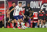 NASHVILLE, TN - SEPTEMBER 5: Christian Pulisic #10 of the United States turns with the ball during a game between Canada and USMNT at Nissan Stadium on September 5, 2021 in Nashville, Tennessee.