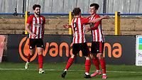 Alex Gilbert celebrates scoring Brentford's second goal with Fin Stevens during Watford Under-23 vs Brentford B, Friendly Match Football at Clarence Park on 24th November 2020