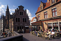 outdoor café, Belgium, Brugge, Bruges, West-Vlaanderen, Europe, Outdoor café along the canal in Bruges.