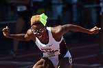 13 JUNE 2015: Shamier Little of Texas A&M reacts after winning the NCAA Championship in the Women's 400 meter hurdles during the Division I Men's and Women's Outdoor Track & Field Championship held at Hayward Field in Eugene, OR. Little won the race in a time of 53.74. Steve Dykes/ NCAA Photos