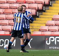 20th March 2021, Oakwell Stadium, Barnsley, Yorkshire, England; English Football League Championship Football, Barnsley FC versus Sheffield Wednesday; Jordan Rhodes of Sheffield Wednesday celebrates with Barry Bannan of Sheffield Wednesday after making it 2-0  in the 53rd minute