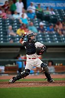 Great Lakes Loons catcher Jair Camargo (21) throws down to second base during a Midwest League game against the Clinton LumberKings on July 19, 2019 at Dow Diamond in Midland, Michigan.  Clinton defeated Great Lakes 3-2.  (Mike Janes/Four Seam Images)