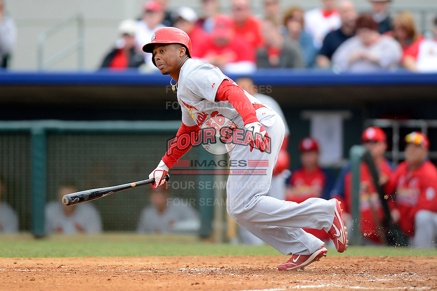 St. Louis Cardinals outfielder Adron Chambers #56 during a Spring Training game against the Houston Astros at Osceola County Stadium on March 1, 2013 in Kissimmee, Florida.  The game ended in a tie at 8-8.  (Mike Janes/Four Seam Images)