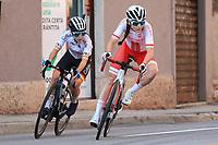 11th September 2021: Trento, Trentino–Alto Adige, Italy: UEC Road European Womens Elite Cycling Championships; Left, Marta Lach (POL) and Lourdes Oyarbide Jimenez (ESP)