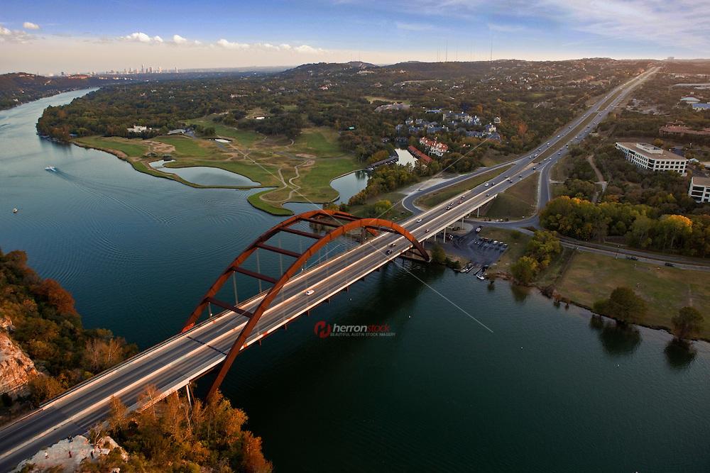 High Angle View of the Pennybacker 360 bridge on Colorado River, Lake Austin Royalty Free Stock Photo