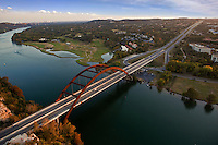 High Angle View of the Pennybacker 360 bridge on Colorado River, Lake Austin Royalty Free Stock Photo