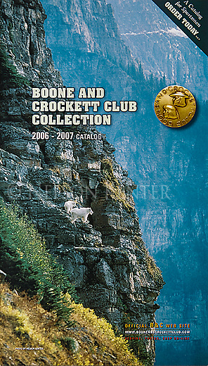 Nelson Kenter photo of Mountain Goats on a cliff used on a catalog cover for Boone and Crockett club