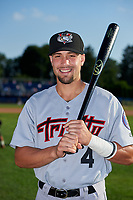 Tri-City ValleyCats J.J. Matijevic (4) poses for a photo before a game against the Batavia Muckdogs on July 15, 2017 at Dwyer Stadium in Batavia, New York.  Tri-City defeated Batavia 5-4.  (Mike Janes/Four Seam Images)