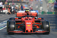 March 16, 2019: Charles Leclerc (MCO) #16 from the Scuderia Ferrari team leaves the pit to start the qualification session at the 2019 Australian Formula One Grand Prix at Albert Park, Melbourne, Australia. Photo Sydney Low